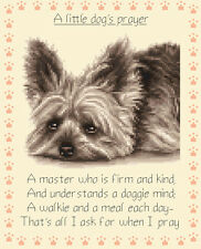 YORKSHIRE TERRIER dog PRAYER ~ full cross stitch kit