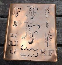 """Monogramm """" KF """" Wäschemonogramm Wäscheschablone Wäschezeichen 11/13 cm KUPFER"""