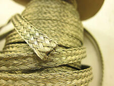 """10' 8 AWG Gauge 3/8"""" X.090"""" Braided Flat Grounding Strap Ground Wire Copper Tin"""