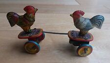VINTAGE tin wind up fighting pecking tin chicken rooster toy, Japan 1950's-RARE