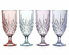 Dublin Blush Ice Beverage Glasses 4-Pc Set Assorted Color Intricate Cut Crystal