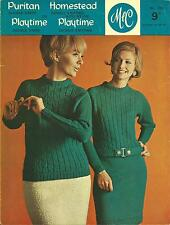 VINTAGE KNITTING PATTERN 1960'S DRESS AND SWEATER W CABLES