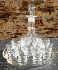 Service ancien liqueur digestif plateau carafe 8 verres gravés début XXème