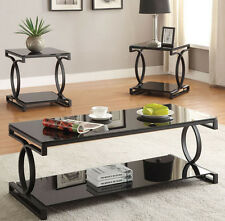 NEW 3PC BAX TRANSITIONAL SANDY BLACK FINISH METAL GLASS TOP COFFEE TABLE SET