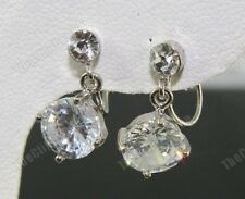 U CLIP ON CUBIC ZIRCONIA studs DIAMANTE CZ drop EARRINGS non-pierced SILVER PLTD