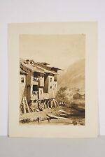 Dessin au lavis XIX° monogrammé AD Vieilles maisons dans la montagne
