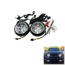 Black Lens Led Mini Rally Driving Fog Light Mini Cooper W/ Halo Ring DRL Lights