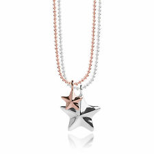 Joma Jewellery Issy faceted stars rose gold & silver long necklace & gift bag