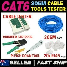 305m Blue Cat 6 Cat6 Network Ethernet LAN Cable Kit Crimper Punch Tester Plugs