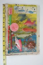 VINTAGE - PLASTIC TOY FISHING SET - HOOK-A-FISH  ACTION  PLASTIC ROD & CREATURES