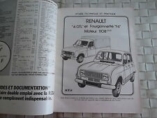 REVUE TECHNIQUE RENAULT 4 GTL FOURGONNETTE 4 F6 ET PICK UP