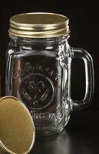 16 OZ COUNTY FAIR OLD FASHION DRINKING MASON JAR GLASS W/HANDLE LIBBEY 97085