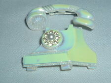 VINTAGE TELEPHONE PIN OPAQUE ENAMELED METAL FAUX PEARL RHINESTONE ACCENT BROOCH