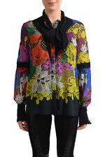 Just Cavalli Women's Multi-Color 100% Silk See Through Blouse Shirt US S IT 40