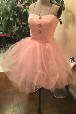 $398 Sz 8 Betsey Johnson Pink Tulle Tutu Party Dress Jewel Buttons