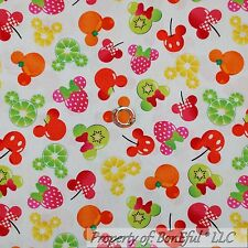 BonEful Fabric FQ Cotton Quilt White Red Pink Dot Disney Minnie Mouse Face Head