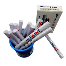 12Pcs White Waterproof Permanent Car Motorcycle Tyre Tire Tread Marker Paint Pen