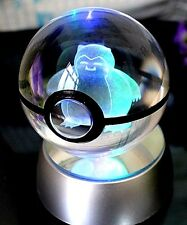 Pokemon Snorlax Pokeball Crystal K9 3D Laser Engraved Led Base Very Fast Shippin