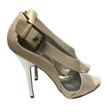 JESSICA SIMPSON TAUPE BEIGE LEATHER OPEN TOE HIGH HEELS  SHOES SZ 7 1/2 ~ NEW