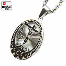 """Stainless Steel 3D Oval Medallion Jesus Pendant 24"""" Box Necklace SCP 166 S"""