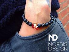 Men Black Onyx/Matt Skull Bracelet with Swarovski Crystal 7-8inch Elasticated