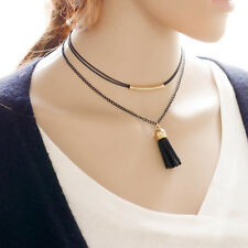 Black Female Simple Ethnic Style Multilayer Long Tassles Clavicle Necklace