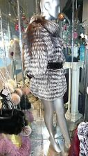 STUNNING Silver Fox Fur Coat Cropped Sleeves Black White Superior Quality Chic!!