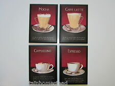 Red Coffee Plaques Mocha Kitchen Wall Decor Signs 4 Pictures