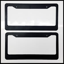 Black Blank License Plate Frame Set truck Plain Plastic Cover Tag Holder JDM Car