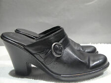 WOMENS 42 / 10 BORN BLACK LEATHER COMFORT MULE SLIDE CLOG HEELS SHOES