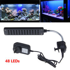 48 LED 3 Mode White & Blue Aquarium Clip Lamp Light For Fish Tank Plant Grow AU