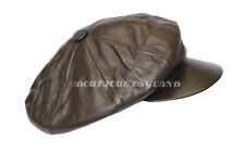 NEW VICTORIAN PEAKY BLINDERS DARK BROWN MEN BAKER BOY NEWSBOY GATSBY LEATHER CAP