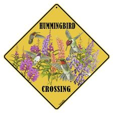 "HUMMINGBIRD Crossing Sign, 12"" on sides, 16"" on Diagonal, Aluminum, In/Ourdoor"