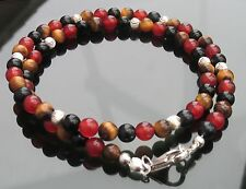 925 Silver Mens Necklace with Mixed Gemstones Tiger Eye Carnelian Onyx Beads