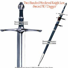 "46"" Two Handed Medieval Knights Long Strider Sword with Dagger & Scabbard"