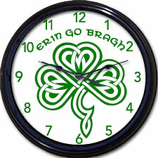 Irish Celtic Shamrock Knot Wall Clock St Patrick's Day Ireland Erin Go Bragh
