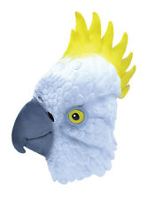 #COCKATOO BIRD PARROT RUBBER OVERHEAD MASK ADULT FANCY DRESS ANIMAL COSTUME