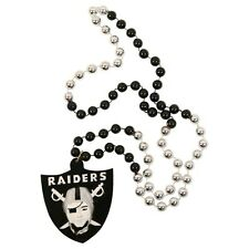 OAKLAND RAIDERS MARDI GRAS BEADS with MEDALLION NECKLACE NFL FOOTBALL