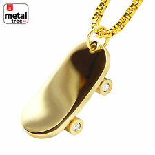 "14k Gold Plated Stainless Steel 3D Skateboard Pendant 24"" Box Chain SCP 185 G"