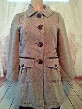 NWT Anthropologie Tulle Women Coat Tweed Wool Brown Small Fitted Hot Pink Lined