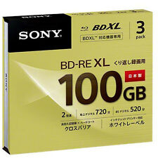 3 Sony Bluray BD-RE XL 100 GB Triple Layer BDXL 3D Bluray Inkjet Printable Discs