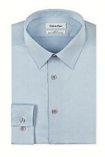 $99 CALVIN KLEIN Men BLUE SLIM-FIT NON-IRON LONG SLEEVE DRESS SHIRT 15 32/33