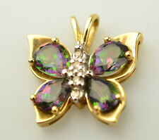10K YELLOW GOLD MYSTIC TOPAZ & DIAMOND ACCENT BUTTERFLY PENDANT FOR NECKLACE