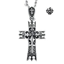 Silver celtic cross pendant stainless steel vintage style necklace soft gothic