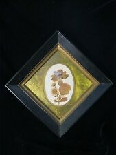 "Vintage Framed DRIED FLOWER Arrangement 8"" X 8"" FRAME - WITH HANGER HOOK"