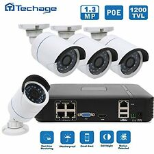 Techage HD 4CH 1080P POE NVR CCTV System 4PCS 1.3Mp IP Camera Home Security
