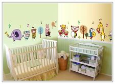 Safari Animals Music Removable Wall Sticker Decals Decor kids nursery mural