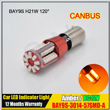 2x Bulb Amber/Yellow 57SMD BAY9S H21W Canbus LED Lights Indicator Turn Corner