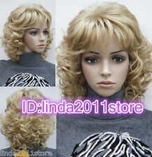 Ladies Blonde Medium Length Short Curly women Natural Hair full wig + Wigs cap