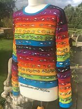FAB NEW RAINBOW TOP UK SIZE 10 / 12 BOHO HIPPIE HIPPY CLOTHING JUMPER BAG JACKET